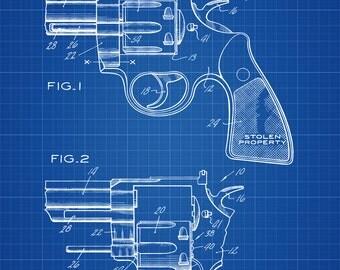 1973 Colt Revolver Patent - Patent Print, Wall Decor, Gun Art, Firearm Art, Colt Patent, Revolver Patent, Colt Revolver