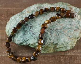 TIGERS EYE Necklace with Tumbled Stones - Tigers Eye Stone, Tigers Eye Jewelry, Polished Stones, Chakra Stone, Tiger Eye Beads E0380