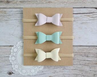 Leather bow Set of 3, nylon headband, one size headbands, newborn headbands, small bow headbands, baby shower gift set