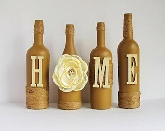Brown Home Wine Bottle Set Home Bottle Set Rustic Bottle Set Twine Wrapped