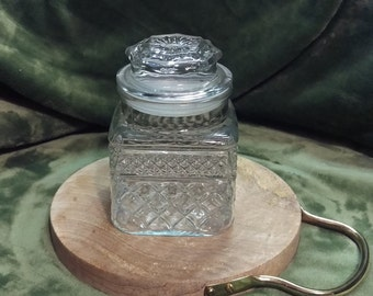 Vintage pressed glass, crystal clear glass with lid, add sparkle to your storage, cookie jar, food storage, candy jar, glass jar, canister