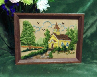 Charming embroidered church scene, Vibrant colors and well crafted with lovely texture, Fiber art, county church image, handcrafted & framed