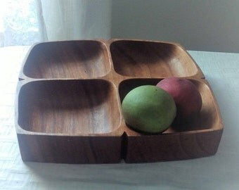 Solid Wood Snack Tray, Fruit Tray, 4 sections, Vintage wood, office supply storage, chocolate bowl, tidbit, tray, carved wood sectioned tray