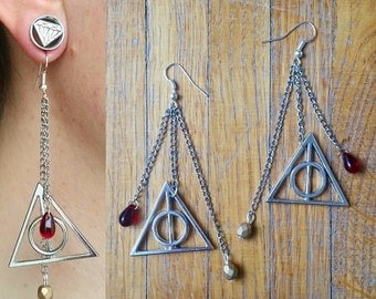 "Harry Potter ""Deathly Hallows"" earrings"