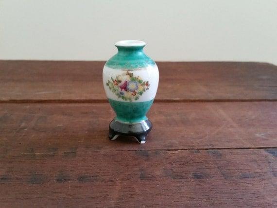 Miniature Porcelain Japanese Vase | Vintage Mini Pedestal Vase - Made in Japan | Green & White w/ Floral Painting