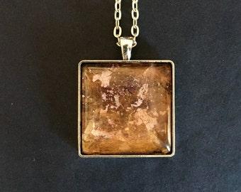 Origin glass pendant necklace, original pendant necklace, abstract pendant necklace, glass cabochon pendant, metallic pendant,