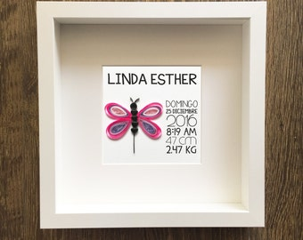 Framed Paper Quilled Dragon-fly with Newborn Information (personalized)