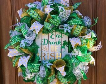 St. Patrick's Day Door Wreath - Deco Mesh St. Patrick's Day Wreath - Spring Deco Mesh Wreath - Shamrock Wreath - St. Patrick's Day Wreath