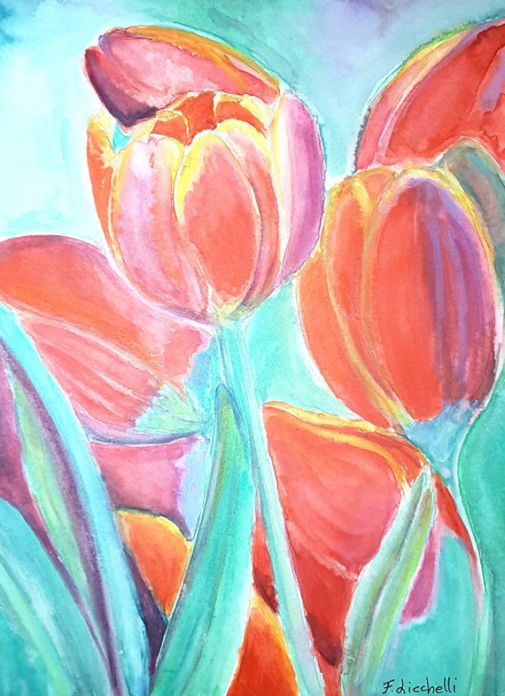 Red tulips, original watercolor, ooak, baby shower gift idea, wall art, home office decoration, lounge art, child's bedroom, infant token.