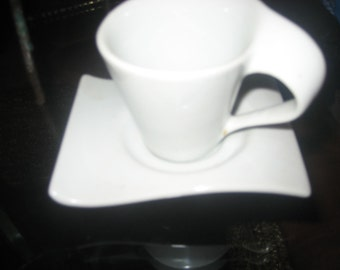 White Ceramic Wavy Espresso Cup and Saucer