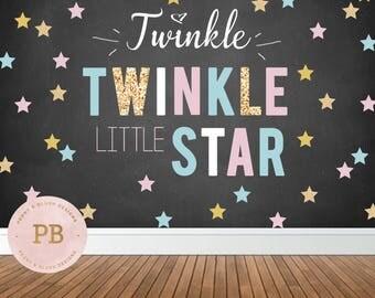 Digital Twinkle Twinkle Little Star Backdrop, Gender Reveal, First Birthday Backdrop, Baby Shower Backdrop, Chalkboard, Sweet Table Decor