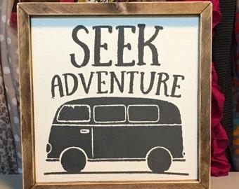 Seek Adventure Wooden Sign