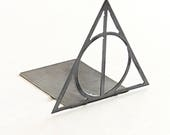 Harry Potter Deathly Hallows Bookend  |  modern metal shelf decor for Harry Potter fan