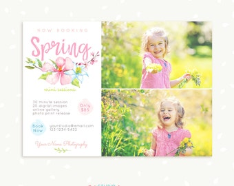 Spring Mini Session Template, Spring Mini Sessions, Floral Marketing Board, Watercolor Photoshop Template, Spring Photography Marketing Set