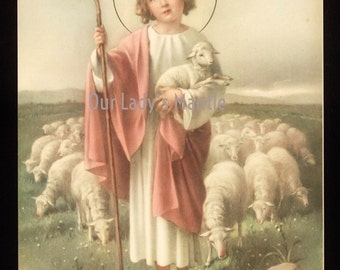 Vintage 1950s Lithograph Print - The Christ Child as the Good Shepherd