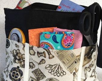 Project Bag. Knitting Bag. Crafters Bag. Gifts for Crafters. Quilted Bag. Crafters Tote. Project Organiser. Tote Bag. Sewing Bag. Pocket Bag