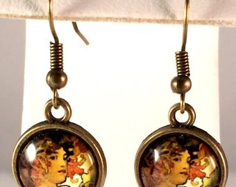 Art Nouveau Earrings - Fruit - Alphonse Mucha - Antique Bronze Earrings - Leaves - Woman - Gifts for Her - Valentine's Day - Mother's Day