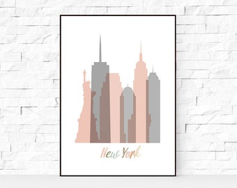New York Skyline Pick and Grey, Print 8x10 - 24x36inc, Watercolor Print, NYC Wall Art, Watercolor Art, City Poster, Cityscape, Home Decor.