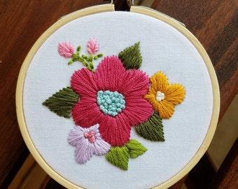 Summer Flowers Embroidery Hoop Art