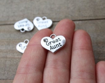 1 piece Great Aunt Heart Charm with Rhinestone, Great Aunt Charm, Heart with Rhinestone, Stamped Heart B44289