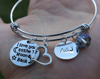 I love you to the moon and back bracelet, love you to the moon bracelet, personalized bracelet, customized bangle, customized jewelry