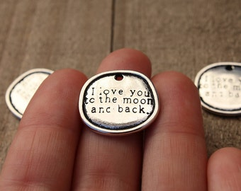 4 PIECES Circle pendant carved with message I love you to the moon and back, i love you to the moon charm, i love you charm, B0082974