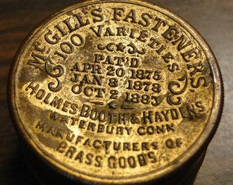 Scarce 1880's Advertising Tin - McGill's Fastener's Brass Advertising Tin - Great Find!