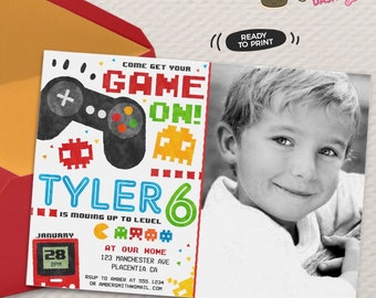 Video Game Party Photo invitations Video Game Birthday invitations Printable Game truck party invitations videogames Invite