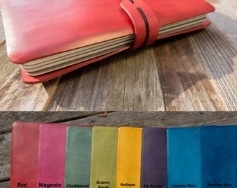 For large Moleskine notebooks~Leather Journal Cover~Personalized ~Refillable : Holds 4 large cahier, 5 x 8.25 notebooks, 10 colors