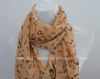 music chiffon scarf, music notes, Music gifts, music sheets, piano shawl, piano gifts, piano teacher gift, panist gift, for her, peach scarf