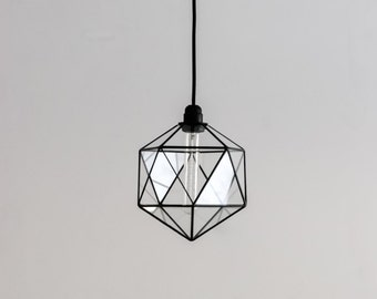 Icosahedron Glass Chandelier / Geometric Pendant Light / Modern Warm Retro Bulb Lamp / 70's industrial retro furniture / Hanging Lighting