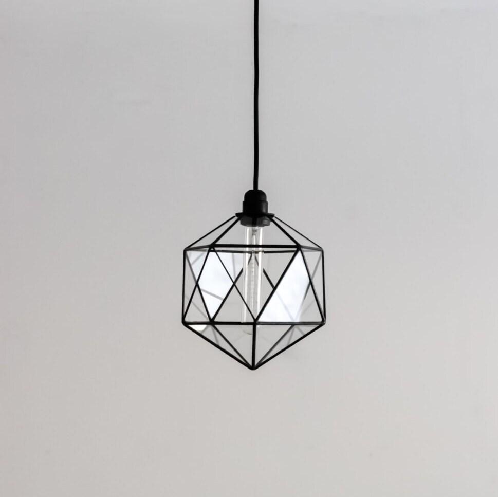 Icosahedron Glass Chandelier / Geometric Pendant Light /
