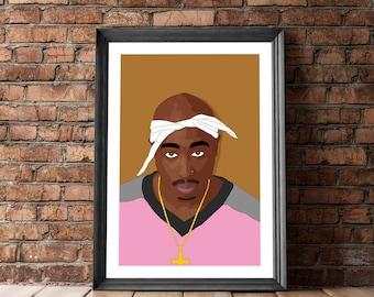 Tupac Poster, 2Pac Art Poster, Tupac Art, Posters and Prints, Music, Hip Hop Poster, Tupac Print, Tupac Illustration, 2Pac Illustration