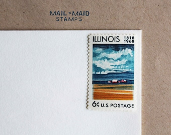 Vintage Illinois Postage Stamp    Set of 8 unused vintage postage stamps