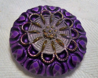 Purple, lavender and gold Czech button ~ 1  1/8th inch