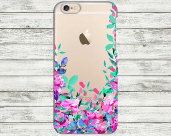 iPhone 7 Plus case Flowers Peonies iPhone 6 Plus floral transparent case, iPhone 7 case, iPhone 6 case, iPhone 5s case, iPhone SE case.