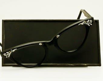 1950s SRO Black Cat Eye NOS Eyeglasses/ Sunglasses Frame Made in USA