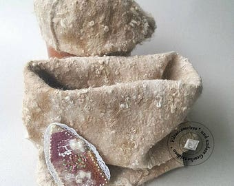 Scarf and beret Cap with brooch felted Merino Alpaca beige gift design winter accessories Christmas Easter warm light