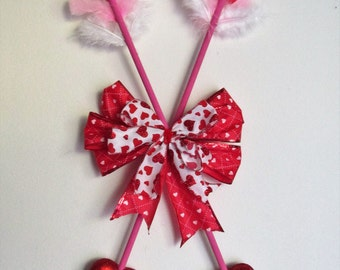 Hanging Wall Decor featuring Cupids Arrows with Heart Arrow Heads, Handmade Bow, and Feathers