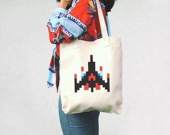 Galaga Ship Tote Bag - 8 bit game canvas bag - 90's - Gift for geek, gamer - Space Ship - Retro Arcade Game - Classic video game cotton bag