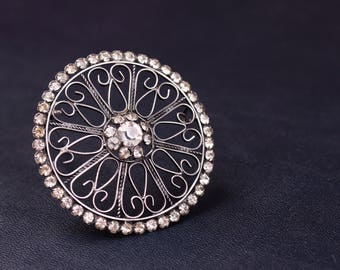 Large Soviet Sterling Silver Rhinestone Brooch with Openwork Design like Snowflake