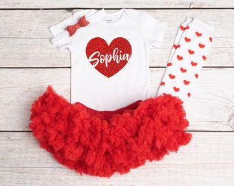 Valentines Outfit, Baby Girls Valentines Outfit, Glitter Heart Shirt, Personalized Valentines Onesie, Red Pettiskirt, Valentines Day