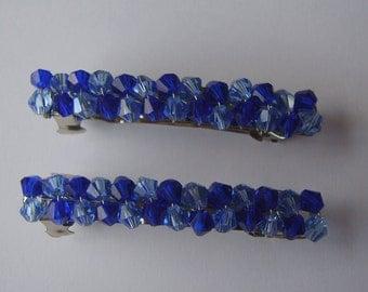 Dark blue and pale blue beaded hair clip, beaded barrette, hair accessory