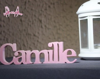 First name Pearly effect wooden