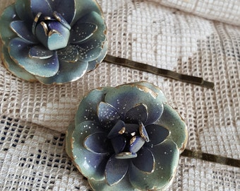 Vintage Dusty Blue Flower Hair Pins Bobbie Pins Gold Trim Dew sprinkled One pair
