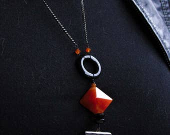 "Modernist Tassel Mexican Fire Opal, Carnelian, Agate, & Black Onyx 25"" Statement Necklace"