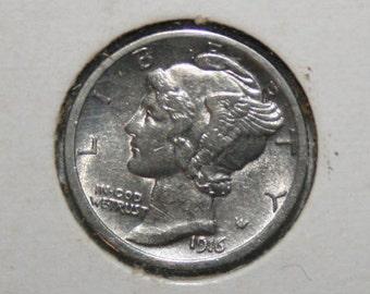 1916 AU+ Mercury Silver Dime  Free Shipping