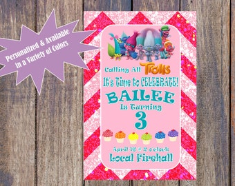 Trolls Birthday Invitation - Chevron/Glitter