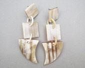 """Long Dangle Earrings, Long Earrings, Long Chandelier Earrings, Horn Earrings, Statement Earrings, Chandelier Jewelry, 2.75"""" length"""