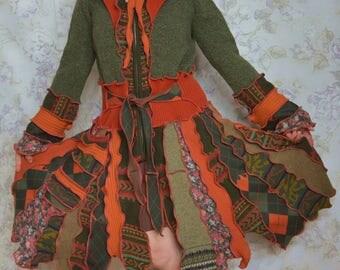 Sundaze Blaze- Katwise inspired, Upcycled sweater coat, recycled, LARGE, Bohemian,